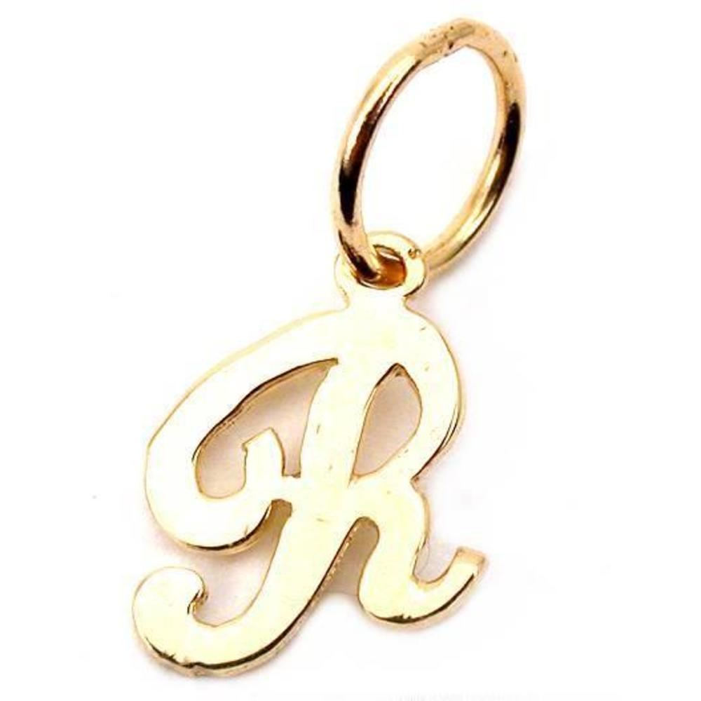 "Letter Charm Bracelets: 14K Gold Cursive ""R"" Letter Charm Initial Jewelry 9.5mm"