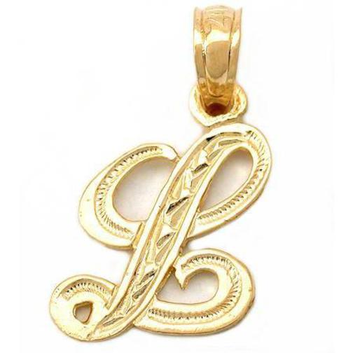 """Initial Charms For Bracelets: 14K Gold """"L"""" Cursive Letter Charm Initial Jewelry 14mm"""
