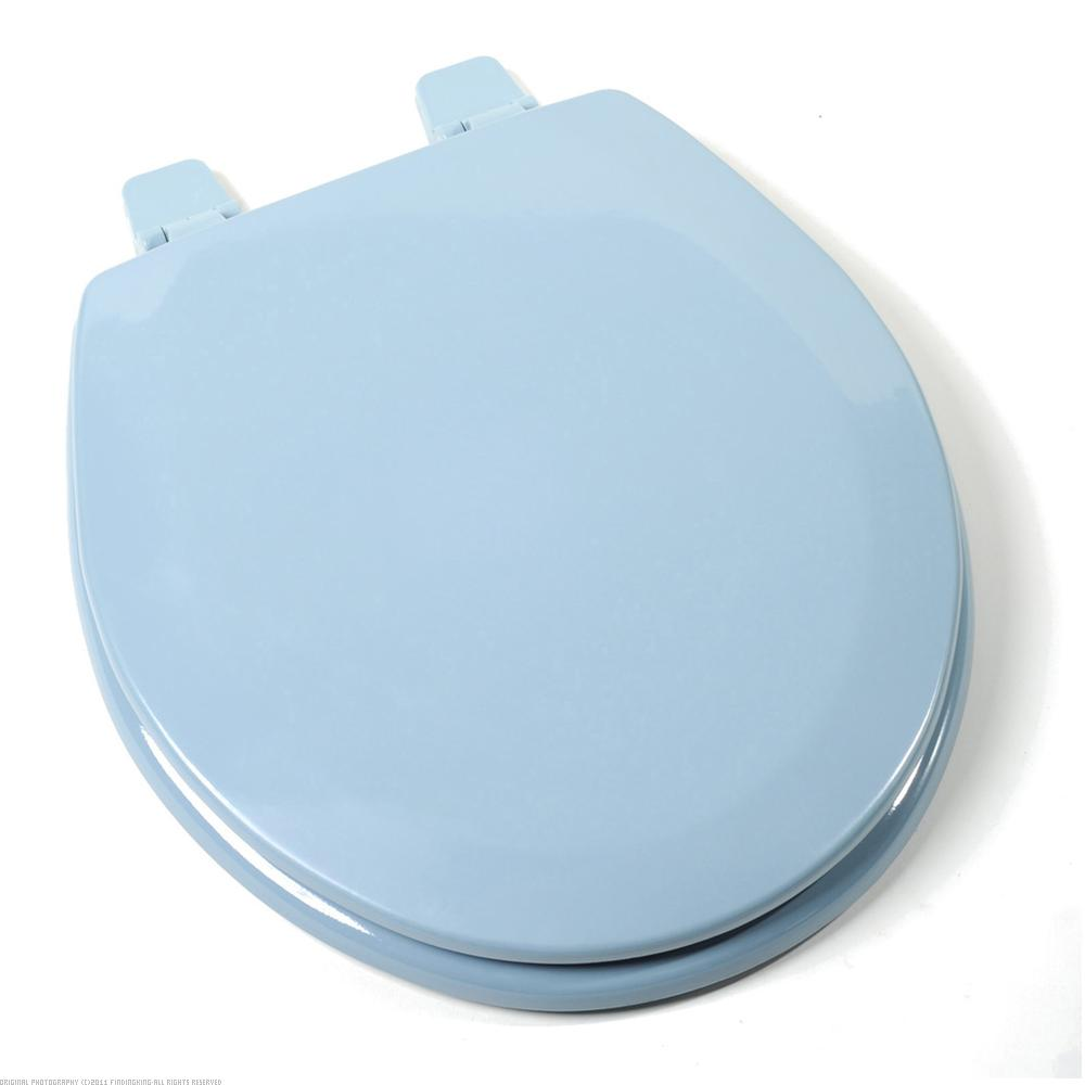 Findingking Deluxe Molded Round Wood Toilet Seat Regency Blue