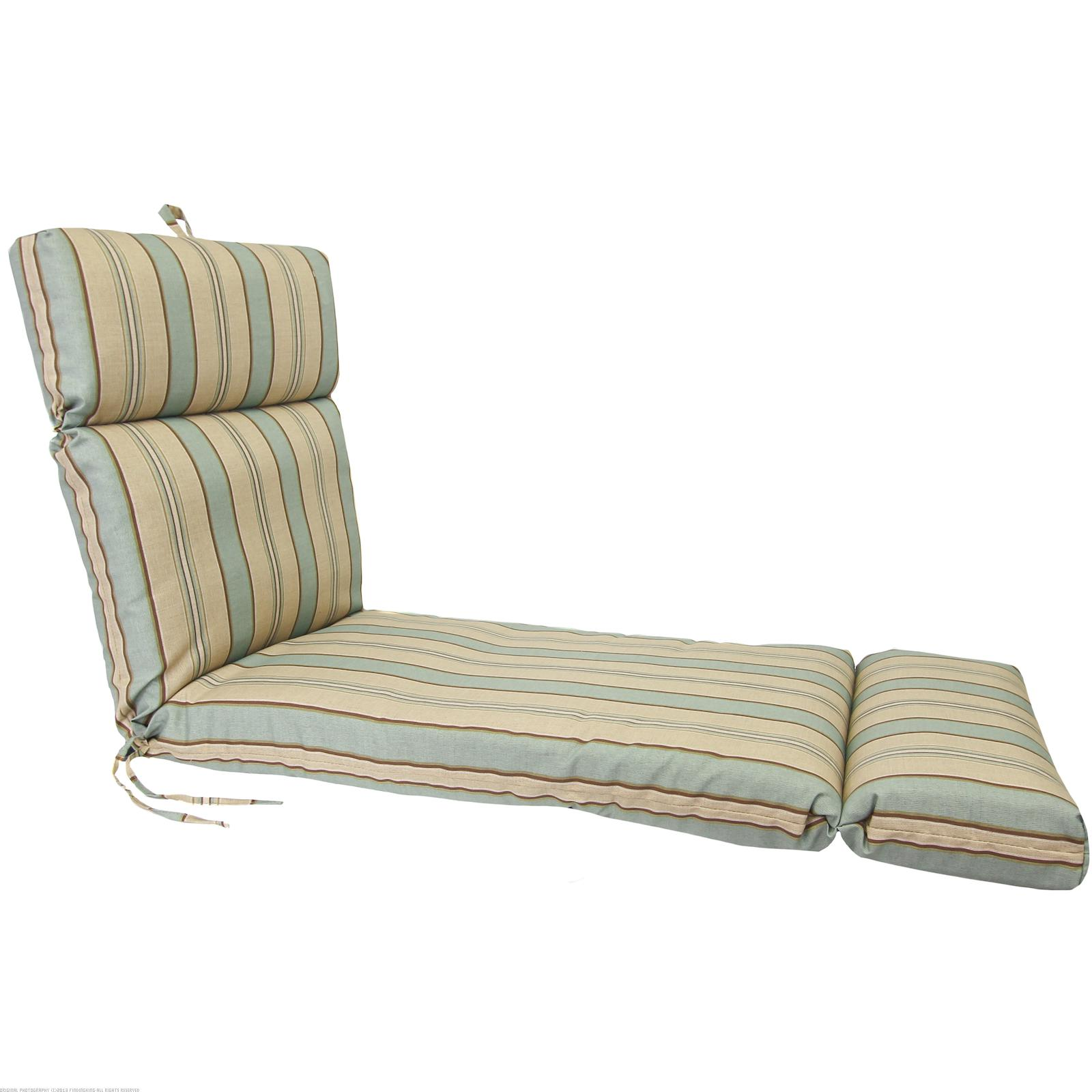 "Teal Brown & Beige French Edge Chaise Lounge Cushion 22"" x 72"" x 4"""
