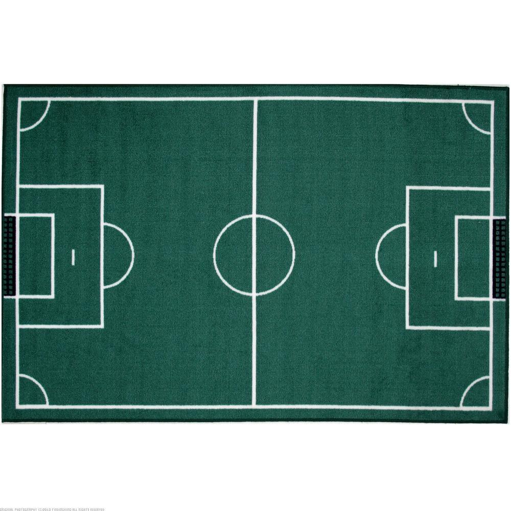 "Kids Childrens Football Field 100 X 133cm: Soccer Field Medium Pile Area Rug 39""x58"""
