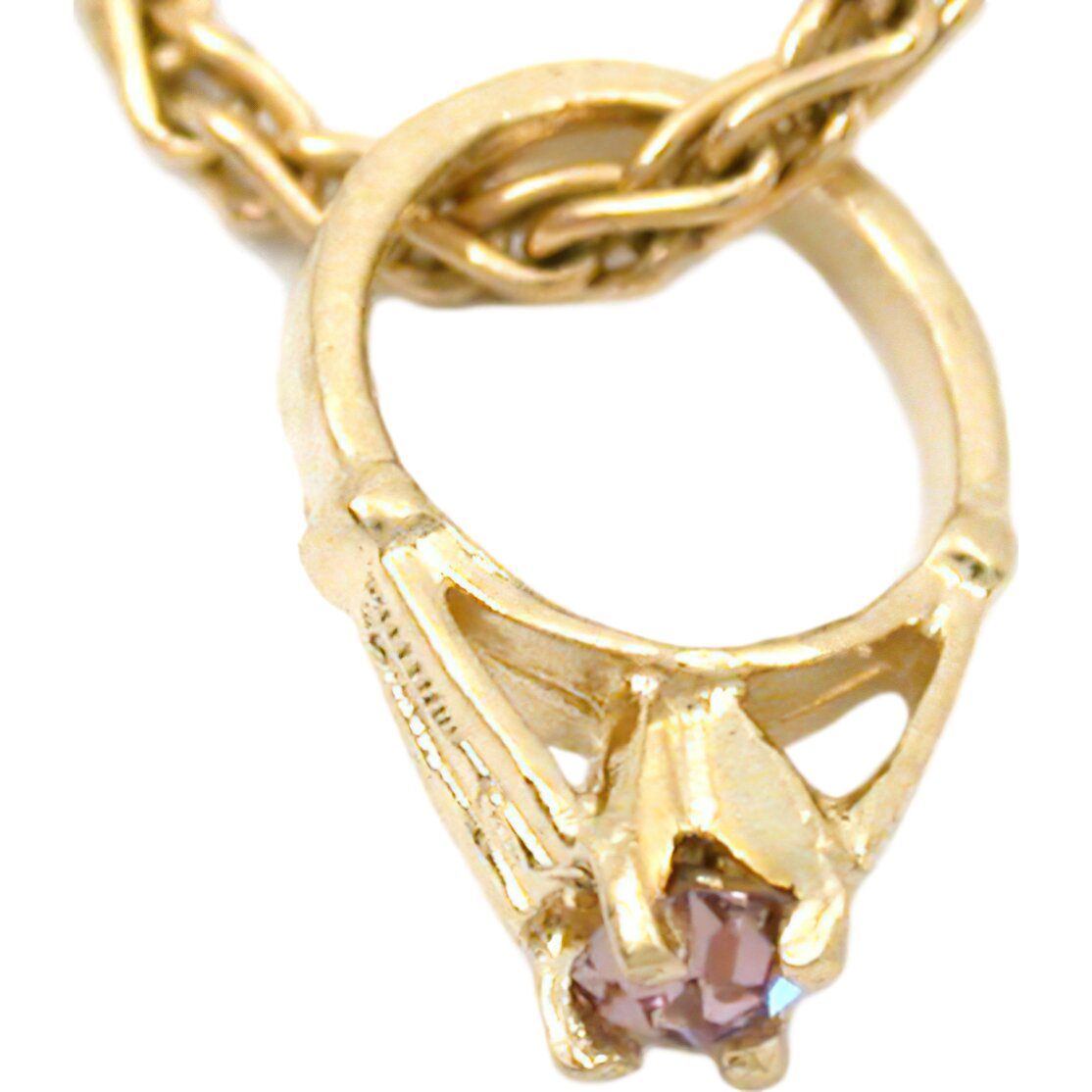 14k Gold June Birthstone Baby Ring Charm Chain Jewelry Ebay