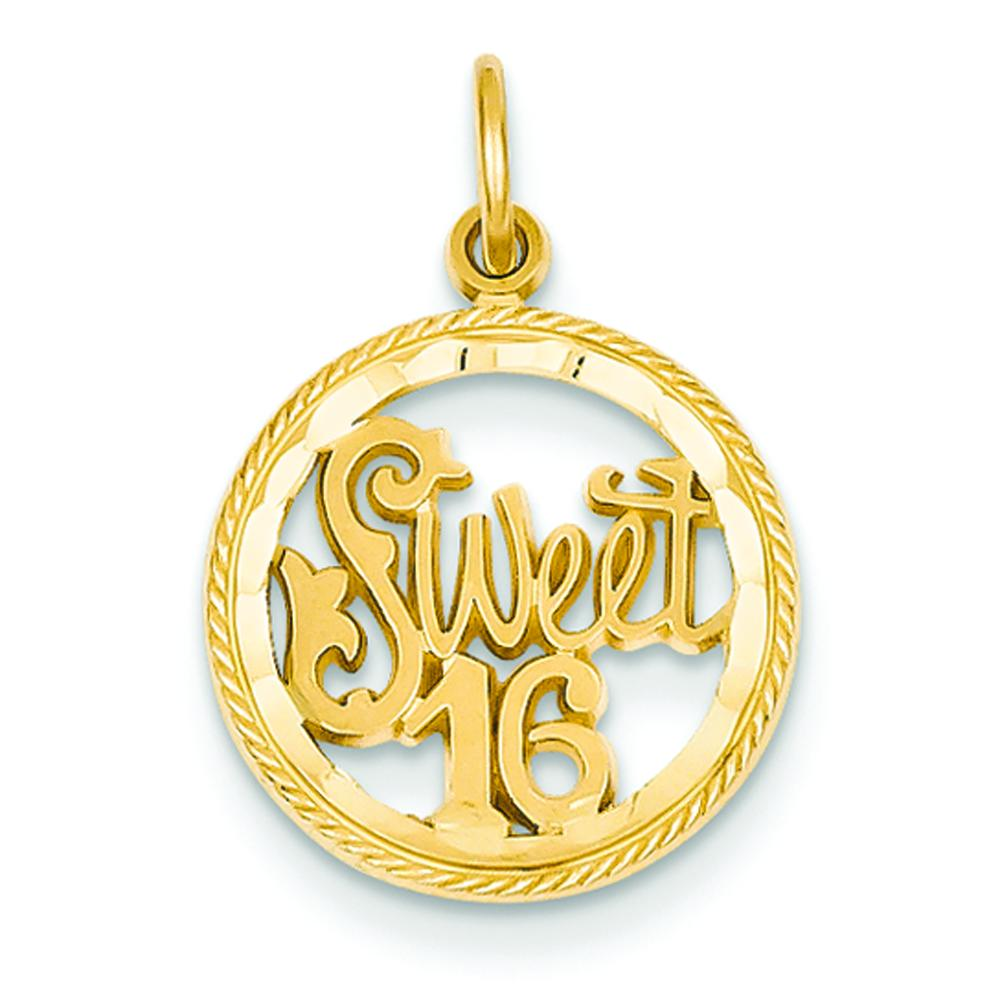 14k yellow gold sweet 16 charm happy birthday jewelry ebay