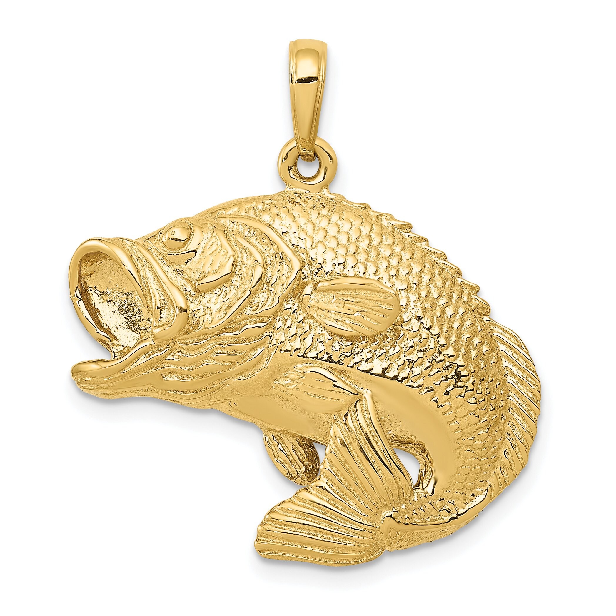 14k gold jumping big mouth bass fish charm pendant ebay for Gold fish charm