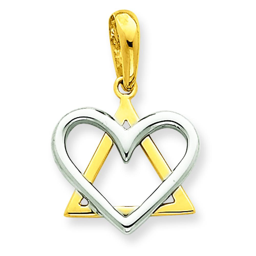 Findingking 14K Two Tone Gold Fancy Star of David Heart Pendant at Sears.com