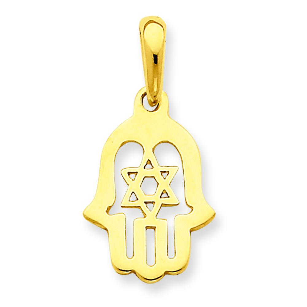 Findingking 14K Gold Star of David Chamesh Pendant at Sears.com