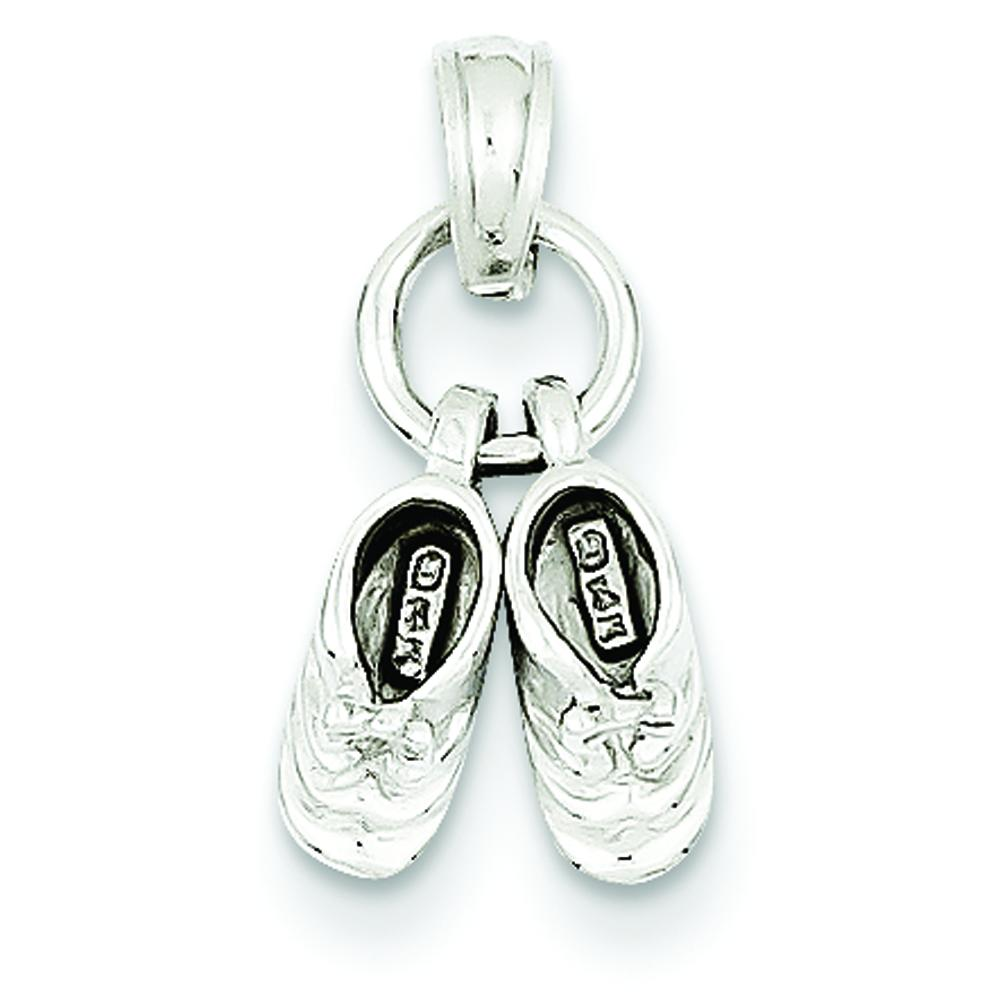 Findingking 14K White Gold 3D Moveable Baby Shoes Charm at Sears.com