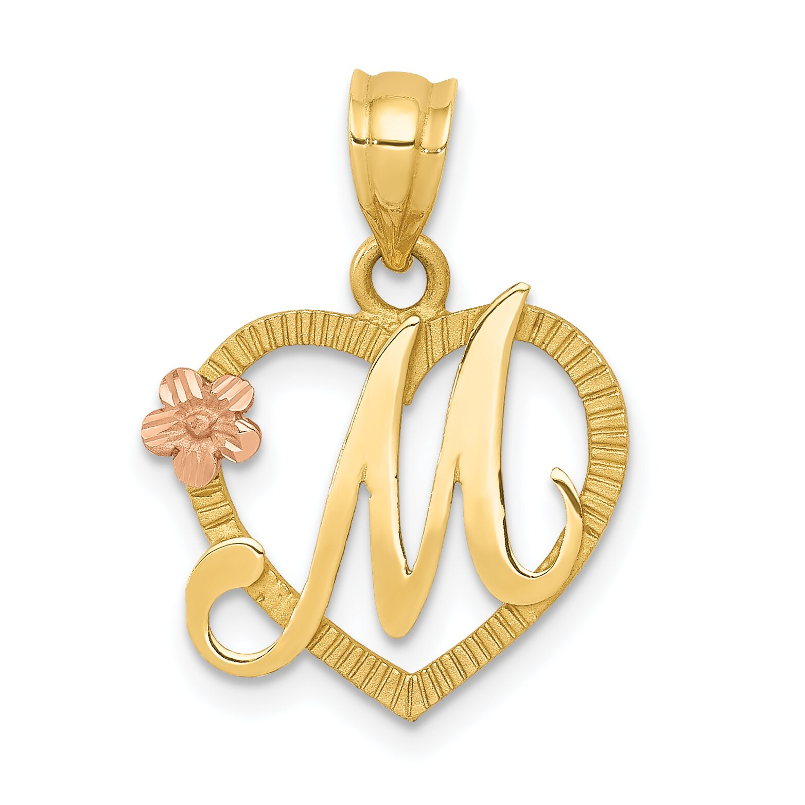 14K Two Tone Gold Initial Letter M Heart Charm Jewelry | eBay