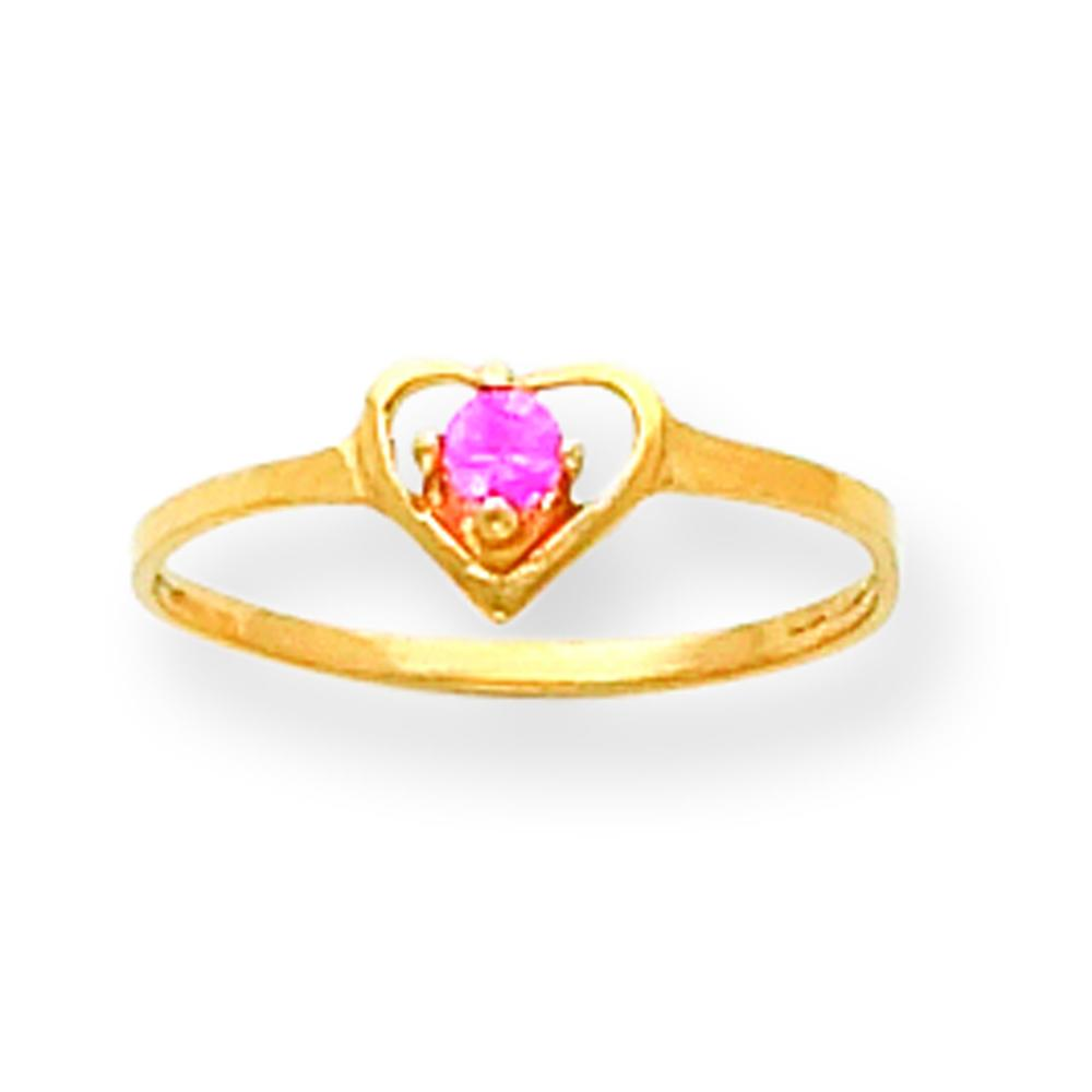 Findingking 14K Gold 2.5mm Pink CZ Heart Ring Childrens Jewelry at Sears.com