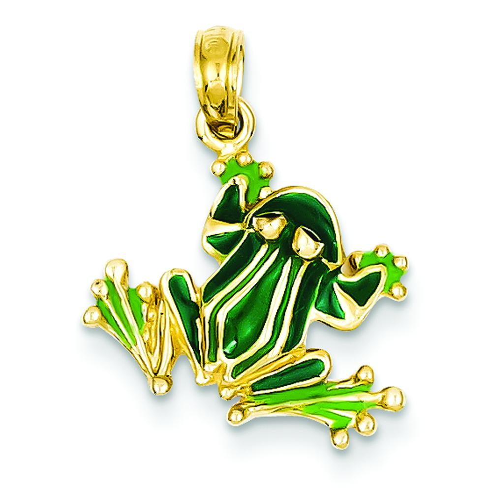 14k yellow gold enamel small frog pendant jewelry ebay