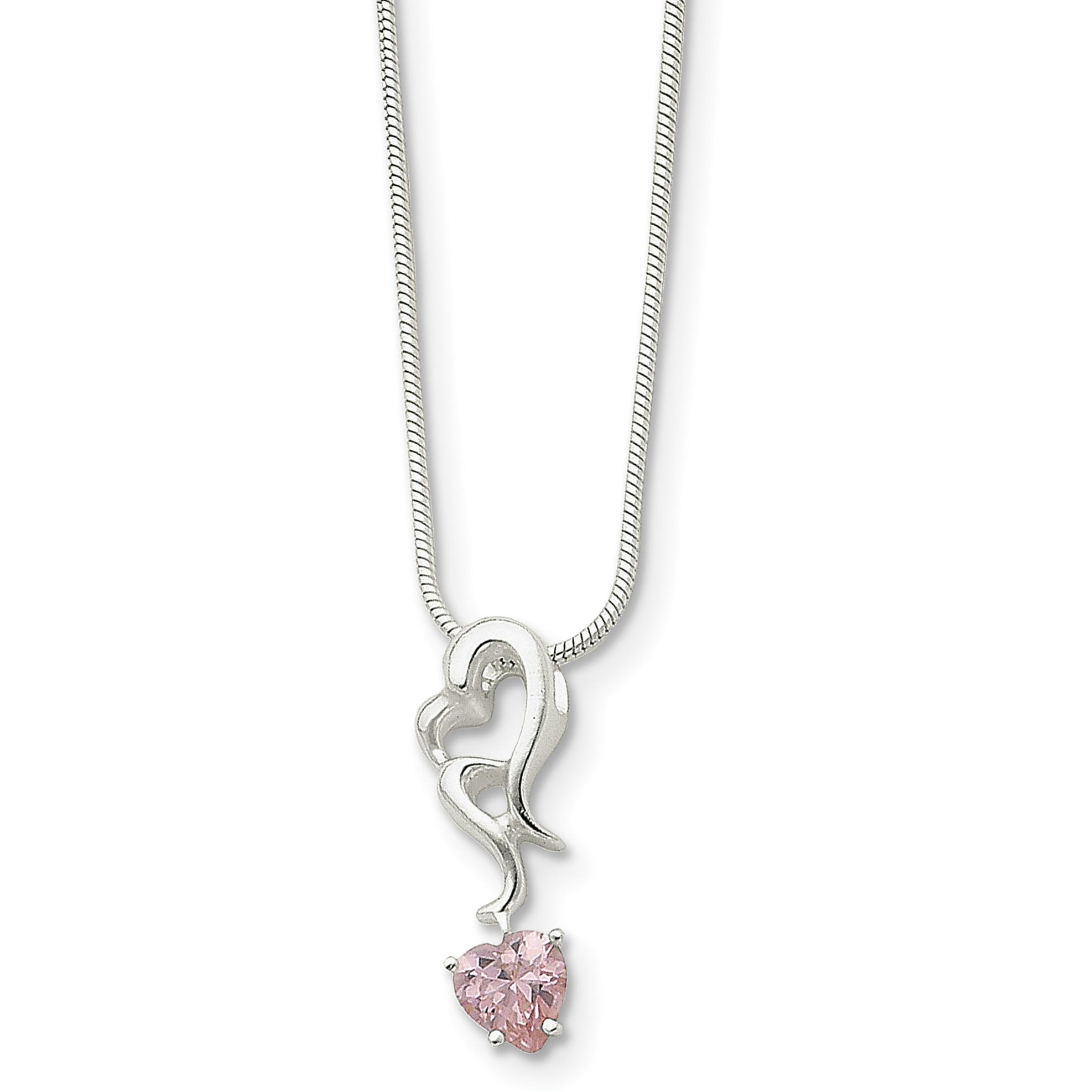 "Findingking Sterling Silver Pink CZ Heart Necklace Jewelry 18"" at Sears.com"