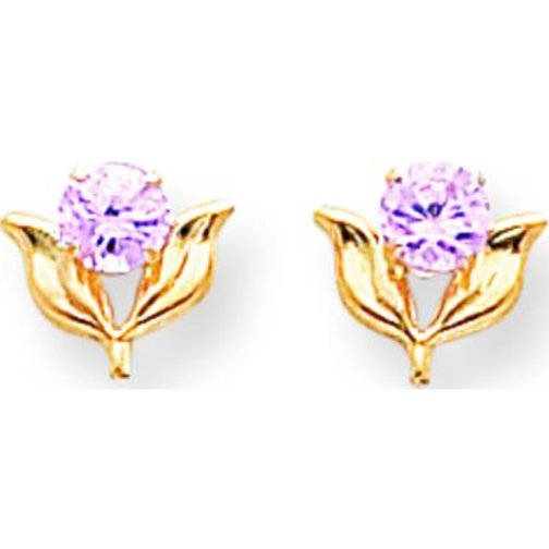 Findingking 14K Yellow Gold Pink CZ Flower Stud Earrings Jewelry at Sears.com