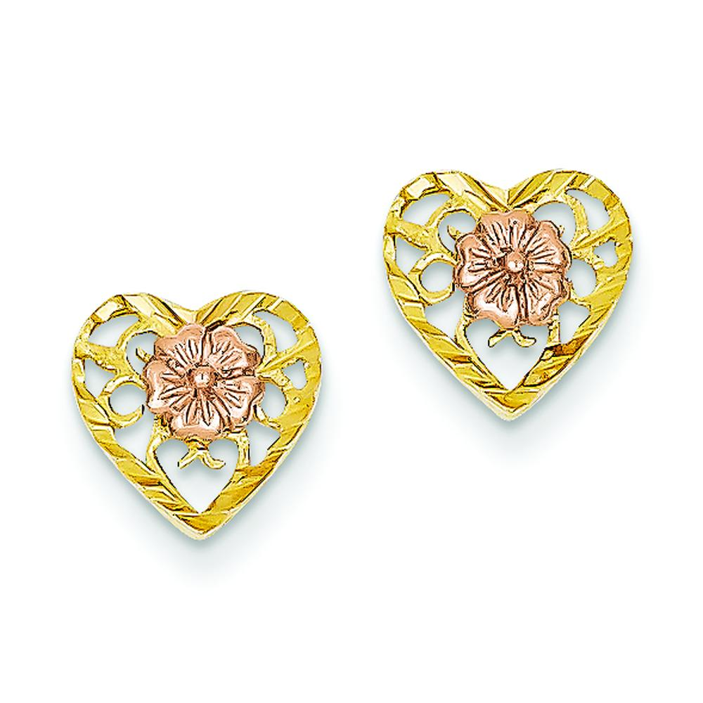 Findingking 14K Two Tone Gold Heart Flower Stud Earrings Jewelry at Sears.com
