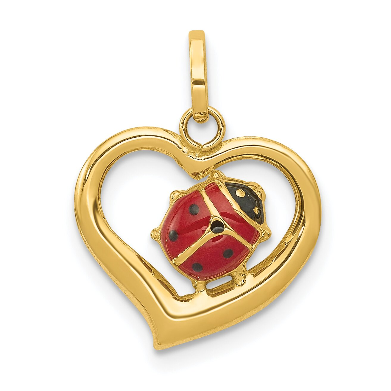 14k Yellow Gold Enameled Ladybug Heart Charm Jewelry Ebay