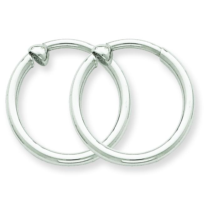 Findingking 14K White Gold Clip On Hoop Earrings Ear Jewelry at Sears.com