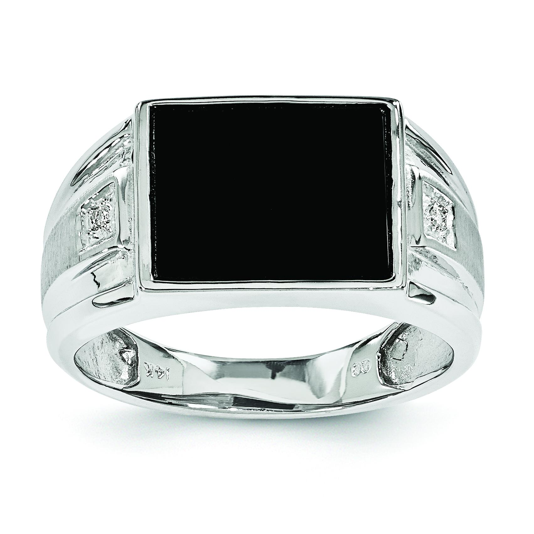 14k white gold onyx mens ring jewelry
