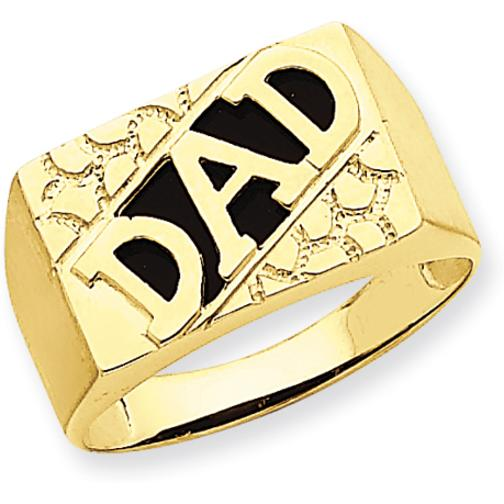 Findingking 14K Yellow Gold Enamel Dad Mens Ring Jewelry Size 10