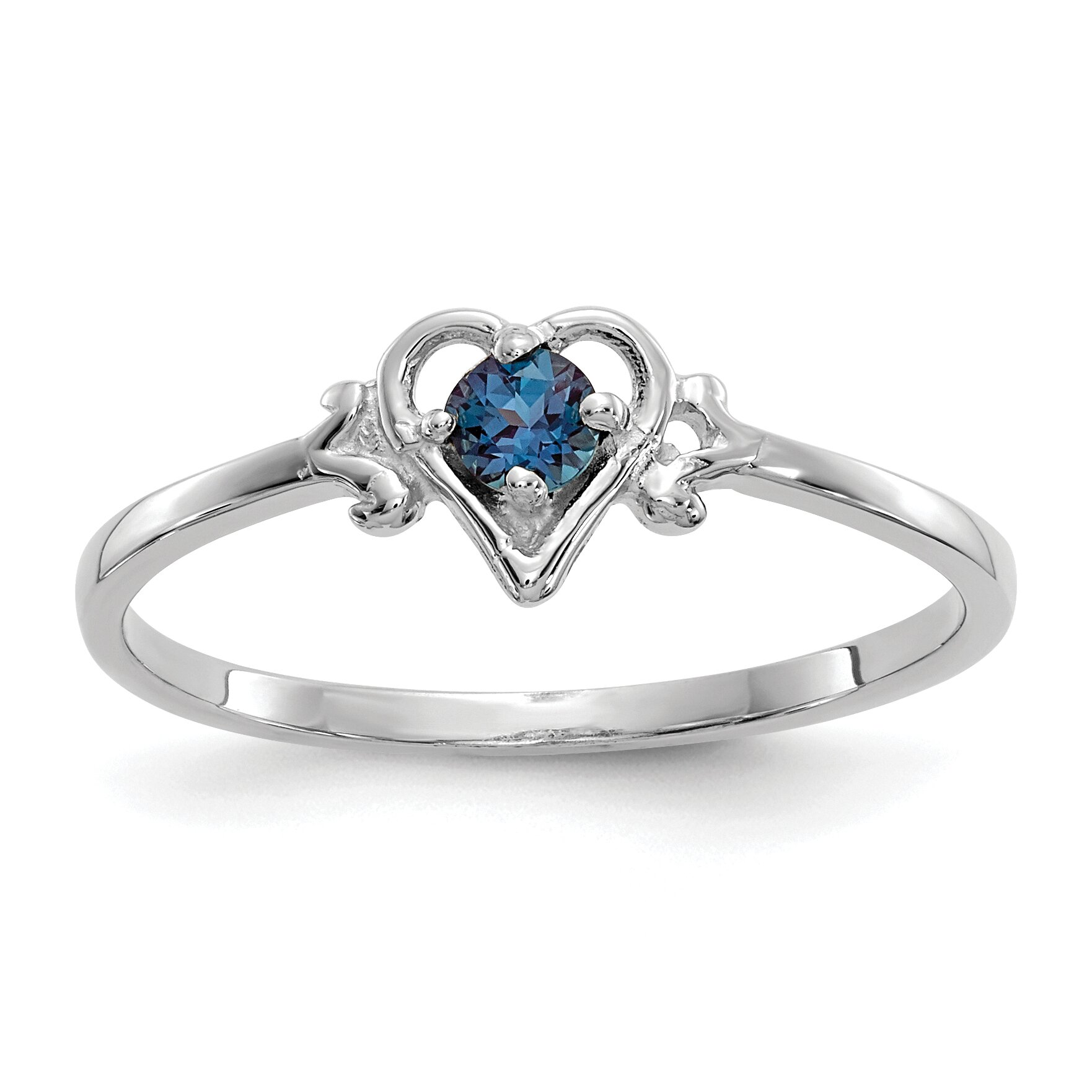 Findingking 14K White Gold Lab Created Alexandrite Heart Ring at Sears.com