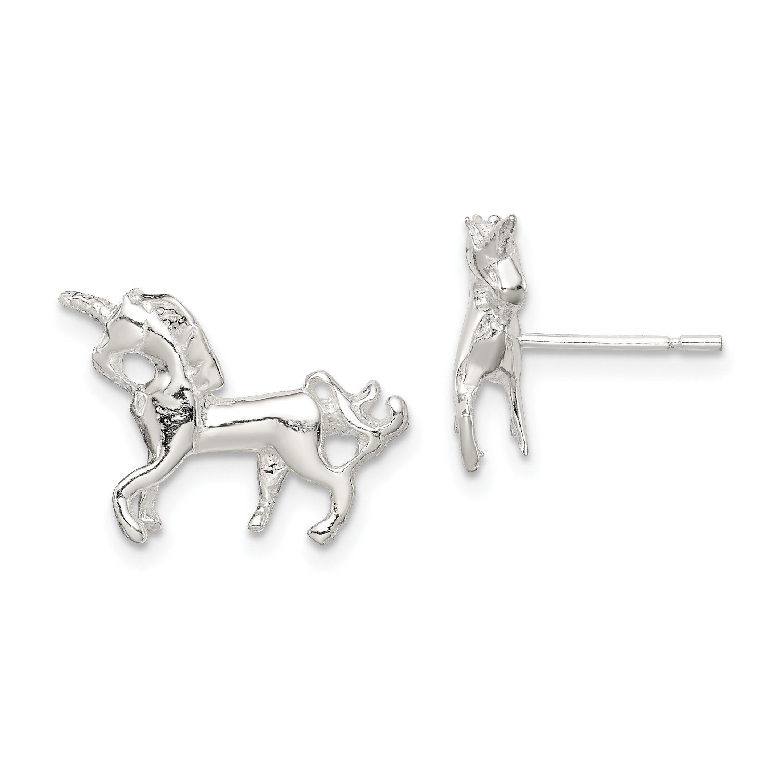 Sterling Silver Unicorn Stud Earrings Jewelry