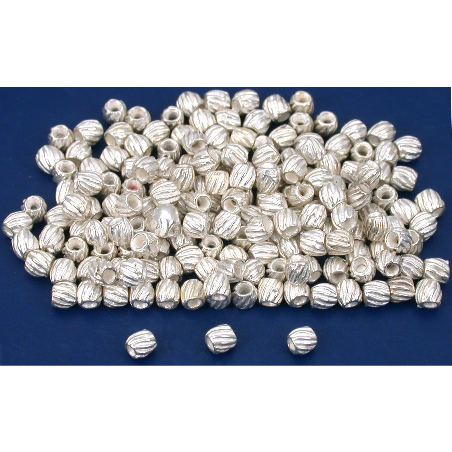 Bali Tube Beads Silver Plated 3mm 15 Grams