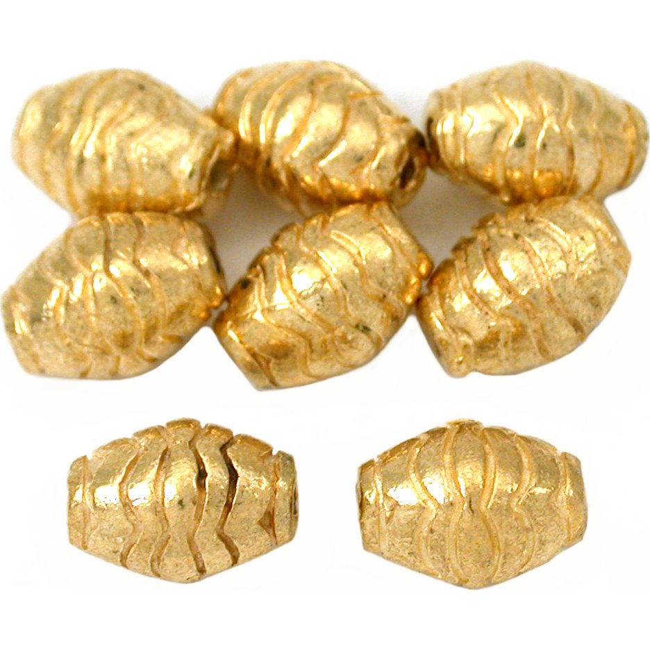 15g Bali Barrel Beads Gold Plt Oval Tube 10mm Approx 8