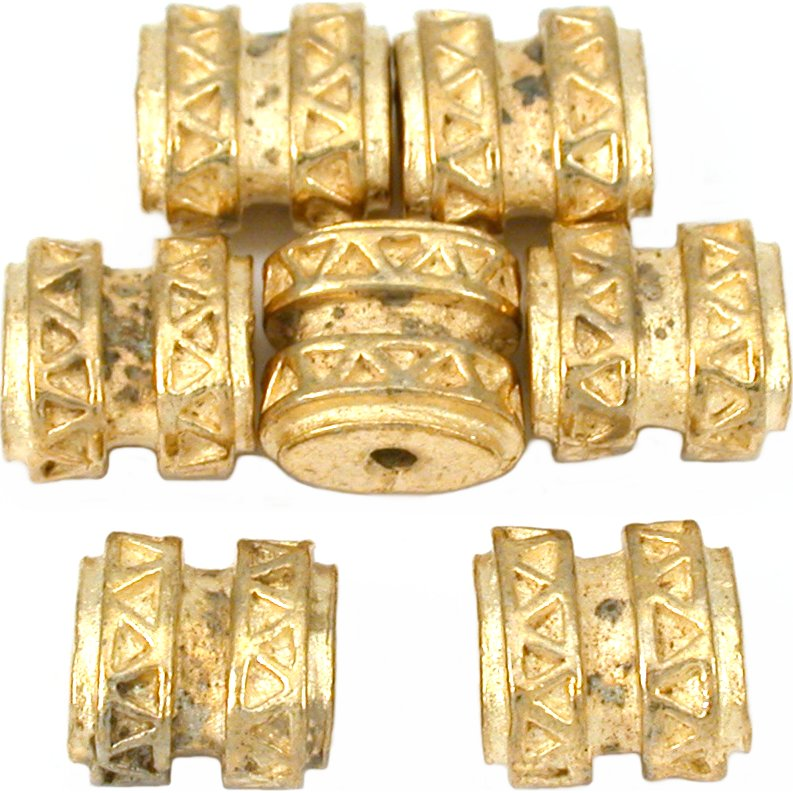15g Bali Flat Oval Barrel Beads Gold Plt 9mm Approx 6